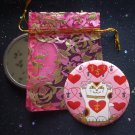 Maneki Neko I Heart Being Lucky Cat in Pink Pocket Mirror