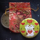 Maneki Neko I Heart Being Lucky Cat in Lime Green Pocket Mirror