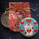 Maneki Neko I Heart Being Lucky Cat in Teal Pocket Mirror