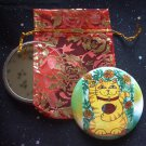 Marigolds Are Lucky Today Maneki Neko Cat with Red Ladybug Pocket Mirror & ACEO Print