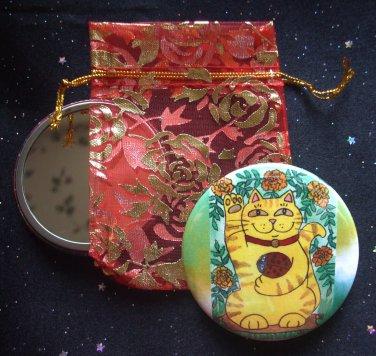 Marigolds Are Lucky Today Maneki Neko Cat with Red Ladybug Pocket Mirror & ACEO Print