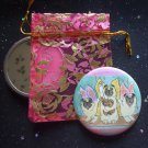 Lucky Fairy Pugs in Flight with Lucky Neko Kitten Pocket Mirror & ACEO Print