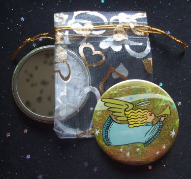 An Angelic Melody Angel with Horn Pocket Mirror