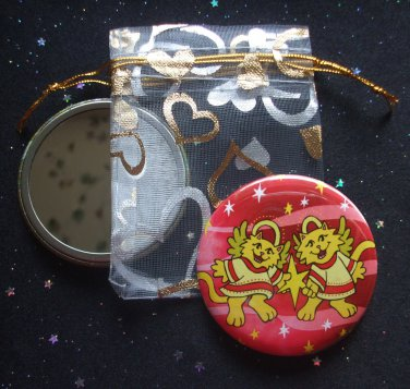 Angelic Cats with Star in Red Pocket Mirror