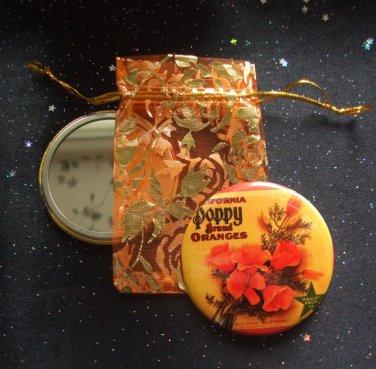 Poppy Vintage Flower Illustration Pocket Mirror