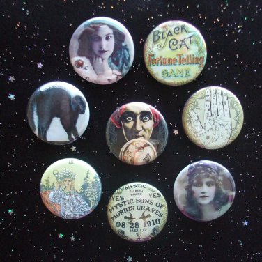 """Gypsy Fortune Tellers 1.25"""" Magnets Set of 8 Ouija Board, Palm, Crystal Ball"""