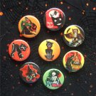 "Retro Halloween 1.25"" Magnets Set of 8"