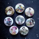 "Retro Cowgirls 1.25"" Magnets Set of 8"