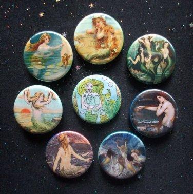 "Mermaids 1.25"" Magnets Set of 8"