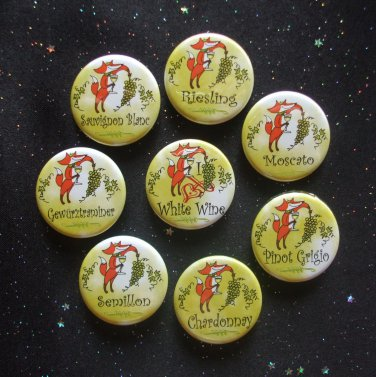 """Fox & Grapes White Wine 1.25"""" Magnets Set of 8 Chardonnay, Riesling, & More"""