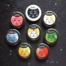 "Positive Affirmation Neko Style Cats 1.25"" Magnets Set of 8"