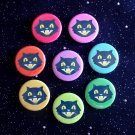 "Retro Smiling Black Cats in Rainbow Colors 1.25"" MAGNETS Set of 8"