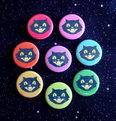 """Retro Smiling Black Cats in Rainbow Colors 1.25"""" MAGNETS Set of 8"""
