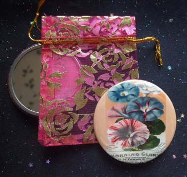 Morning Glory Vintage Flower Illustration Pocket Mirror