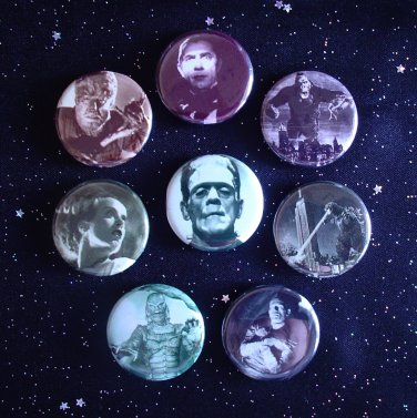 """Classic Film Monsters 1.25"""" Magnets Set of 8"""