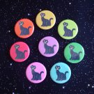 "Retro Sitting Black Cats in Rainbow Colors 1.25"" MAGNETS Set of 8"