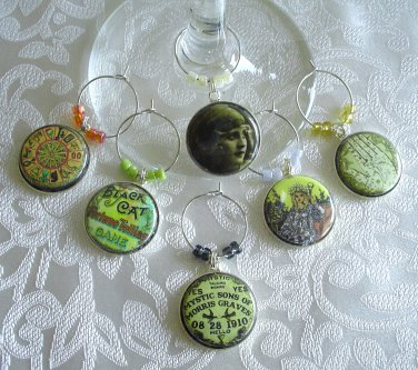 Gypsy Fortune Teller Wine & Drink Glass Charms Set of 6 Ouija Board, Fortune Game, More