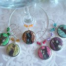 Egyptian Cat Goddess Bast Wine & Drink Glass Charms Set of 6