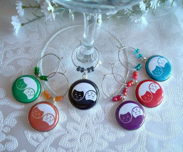 Yin Yang Cats Wine & Drink Glass Charms Set of 6