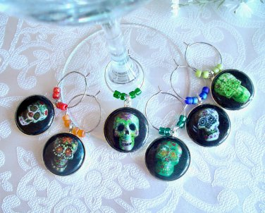 Colorful Sugar Skulls Wine & Drink Glass Charms Set of 6