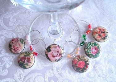 Pretty Pink Roses Wine & Drink Glass Charms Set of 6