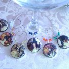 Vintage Witches Wine & Drink Glass Charms Set of 6