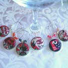 Vintage Trick or Treat Wine & Drink Glass Charms Set of 6