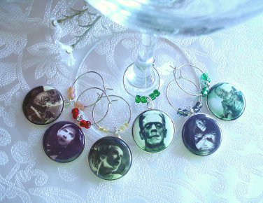 Classic Film Monsters Wine & Drink Glass Charms Set of 6
