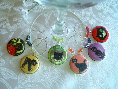 Retro Black Cats Wine & Drink Glass Charms Set of 6