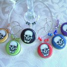 Retro Skulls Wine & Drink Glass Charms Set of 6