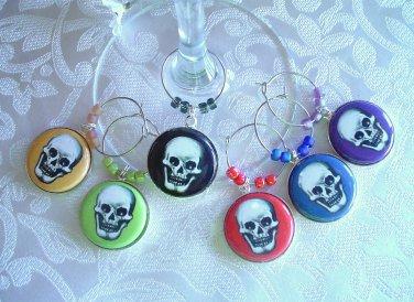 Retro Skulls Wine & Drink Glass Charms Set of 6