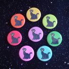 "Retro Sitting Black Cats in Rainbow Colors 1.25"" Pinback Buttons Set of 8"