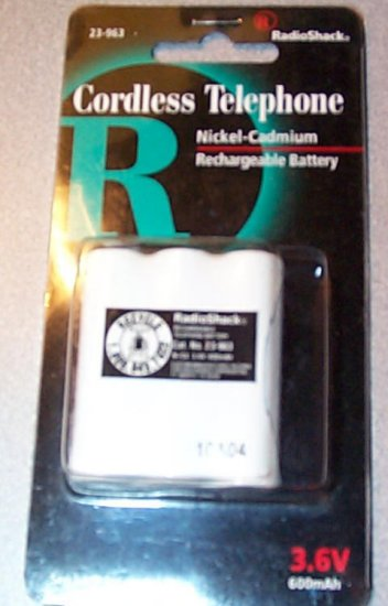 Radio Shack Cordless Phone Battery 23-963 New 3094 325