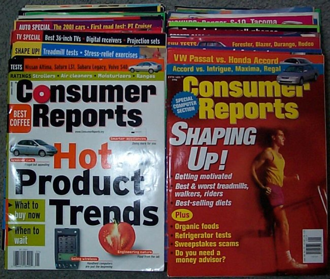 Consumer Reports Lot of 4 Years 1998 1999 2000 and 2001 (except 10-2001)