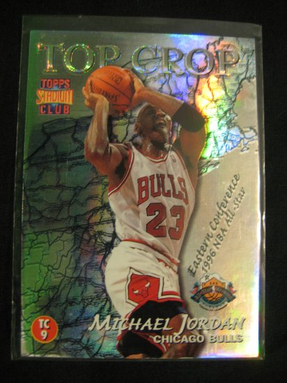 1996 Michael Jordan Topps Stadium club Top Crop Insert card Chicago Bulls Gary Payton
