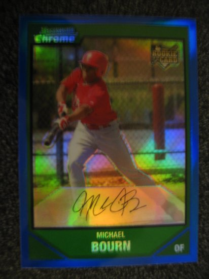 Micheal Bourn 2007 Bowman Chrome Blue Refractor rookie card Huston Astros