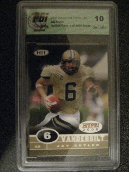 Jay Cutler 2006 Sage Hit Gem Mint 10 rookie card Chicago Bears