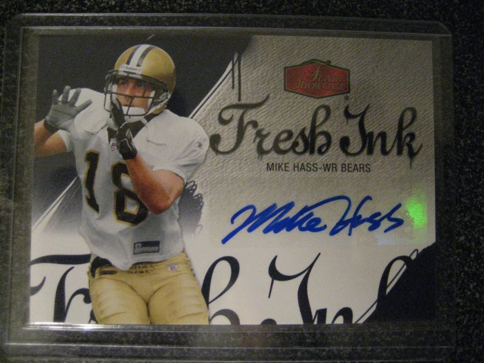 Mike Hass 06 Flair Showcase Fresh Ink rookie autograph card Chicago Bears