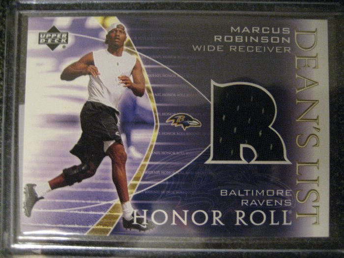 Marcus Robinson 03 Upper Deck Honor Roll Dean's list Jersey card Chicago Bears