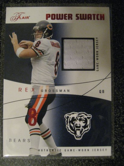Rex Grossman 04 Flair Power Swatch jersey card Chicago Bears serial numbered 139/150