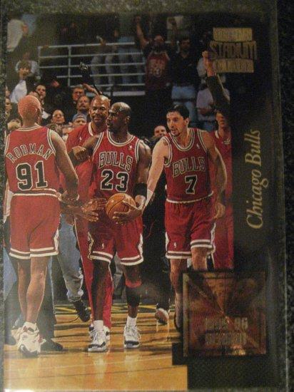 95/96 Topps Stadium Club Chicago Bulls best season ever Golden Moments card. 72W10L Season Jordan
