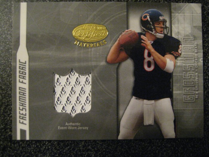 Rex Grossman 03 Leaf Certified Freshman Fabric rookie jersey card Chicago Bears