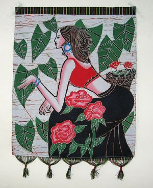 chinese batik art-Camellian girl