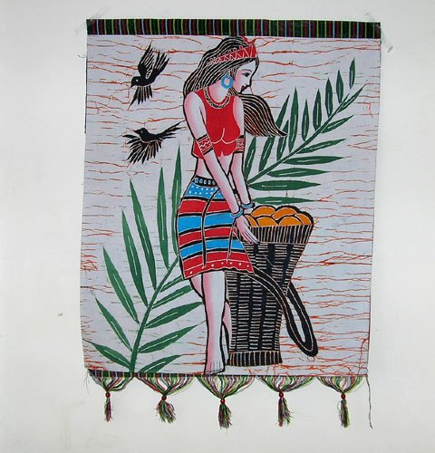 chinese batik art  mural painting- foison season
