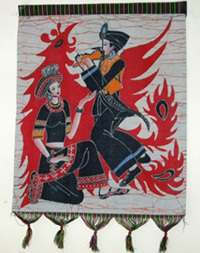 chinese batik art  mural painting -flappy phenix