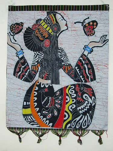 chinese batik art  mural painting- butterfly girl