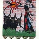 chinese batik art  mural painting-leisurely shepherdess