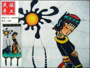 chinese batik art  mural painting- leisurely shepherdess