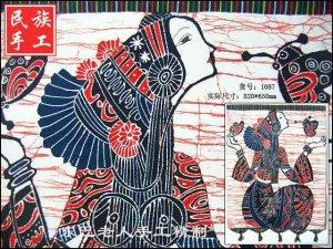 chinese batik art  mural painting- pretty girl of Miao nationality