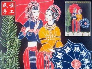 chinese batik art  mural painting - walking in rain